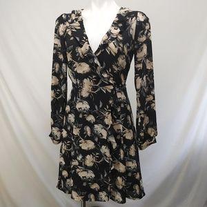 ASTR Floral Ruffle Black & Cream Dress sz M